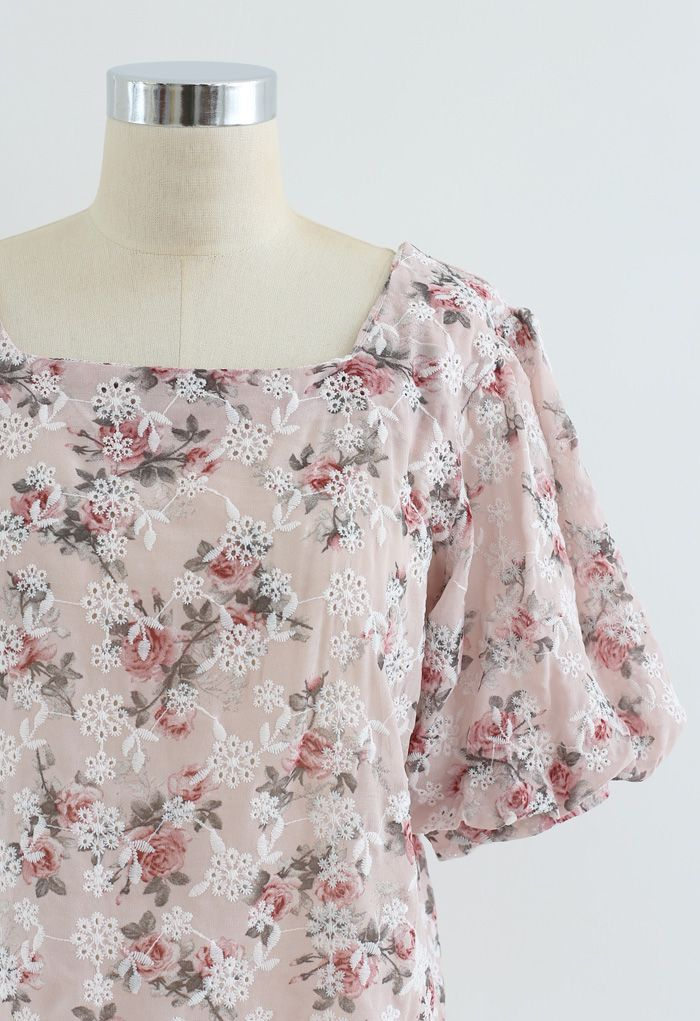 Floral Print Embroidered Bubble Sleeves Chiffon Top in Light Pink