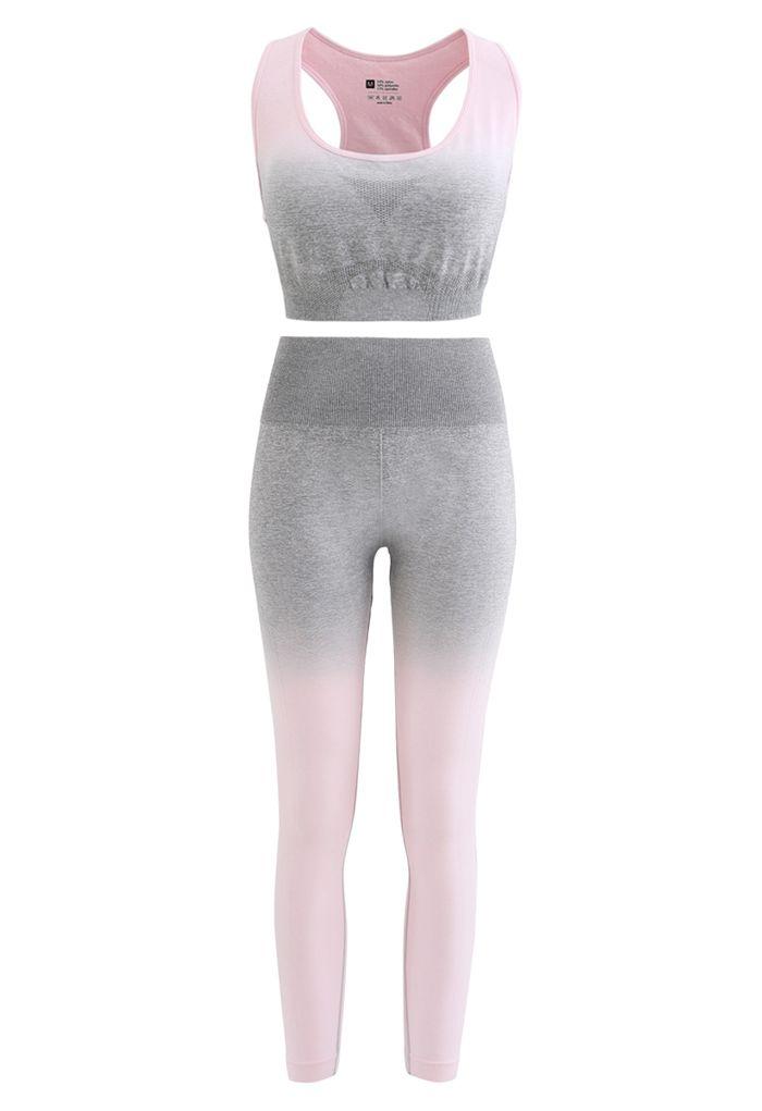 Gradient Medium-Impact Sports Bra and High-Rise Ankle-Length Leggings Set in Light Pink