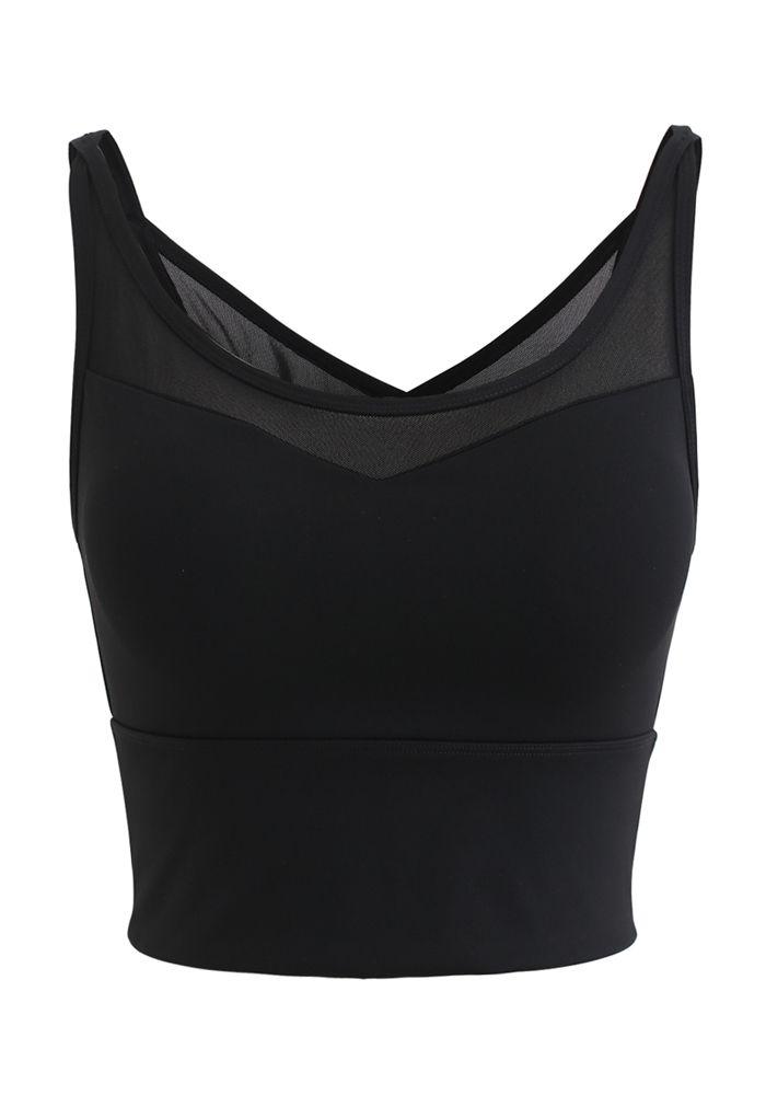 Mesh Spliced Crisscross Medium-Impact Sports Bra in Black