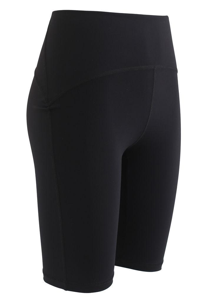 Seam Detail High-Waisted Sculpt Legging Shorts in Black
