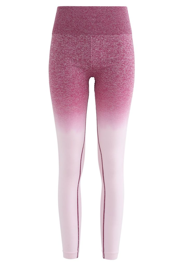 Gradient Medium-Impact Sports Bra and High-Rise Ankle-Length Leggings Set in Berry