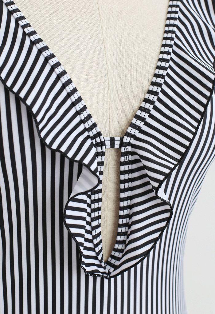 Stripe Print Ruffle Plunging Neck One-Piece Swimsuit
