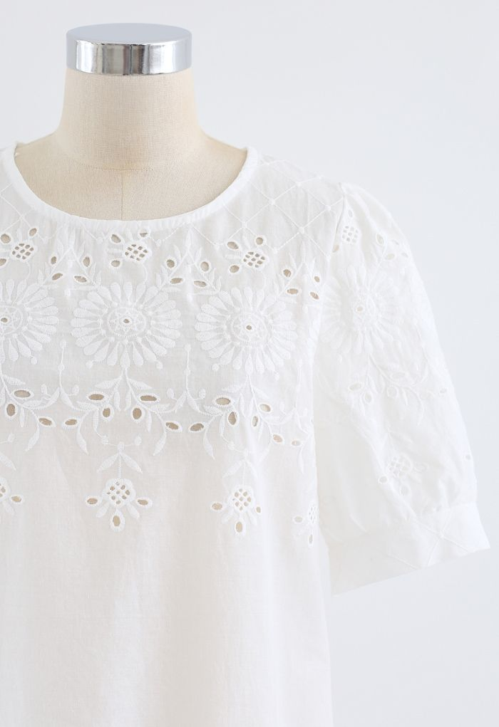 Round Neck Embroidered Posy Eyelet Top