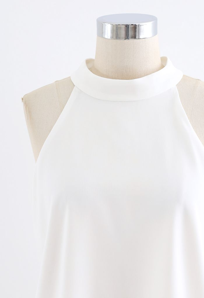 Sleek Loose Fit Halter Top in White