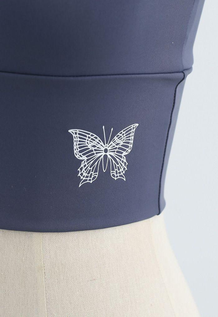 Butterfly Print Medium-Impact Sports Bra in Dusty Blue