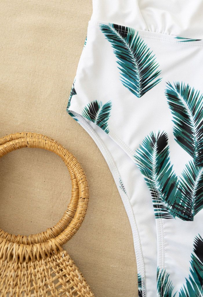 Palm Print Deep V-Neck One-Piece Swimsuit
