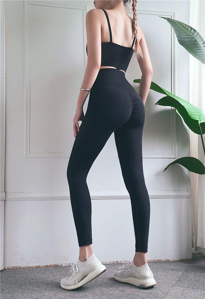 High Rise Peach Buttock Ankle-Length Leggings in Black