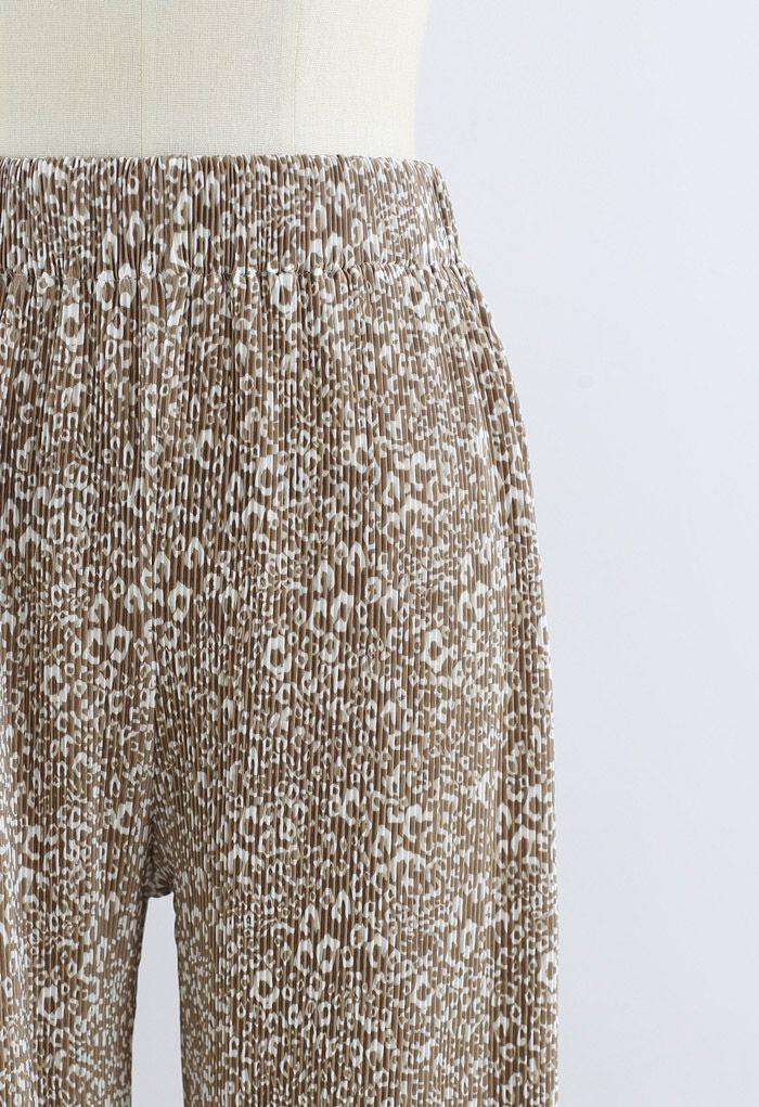 Animal Print Pleated Split Wide-Leg Pants in Tan