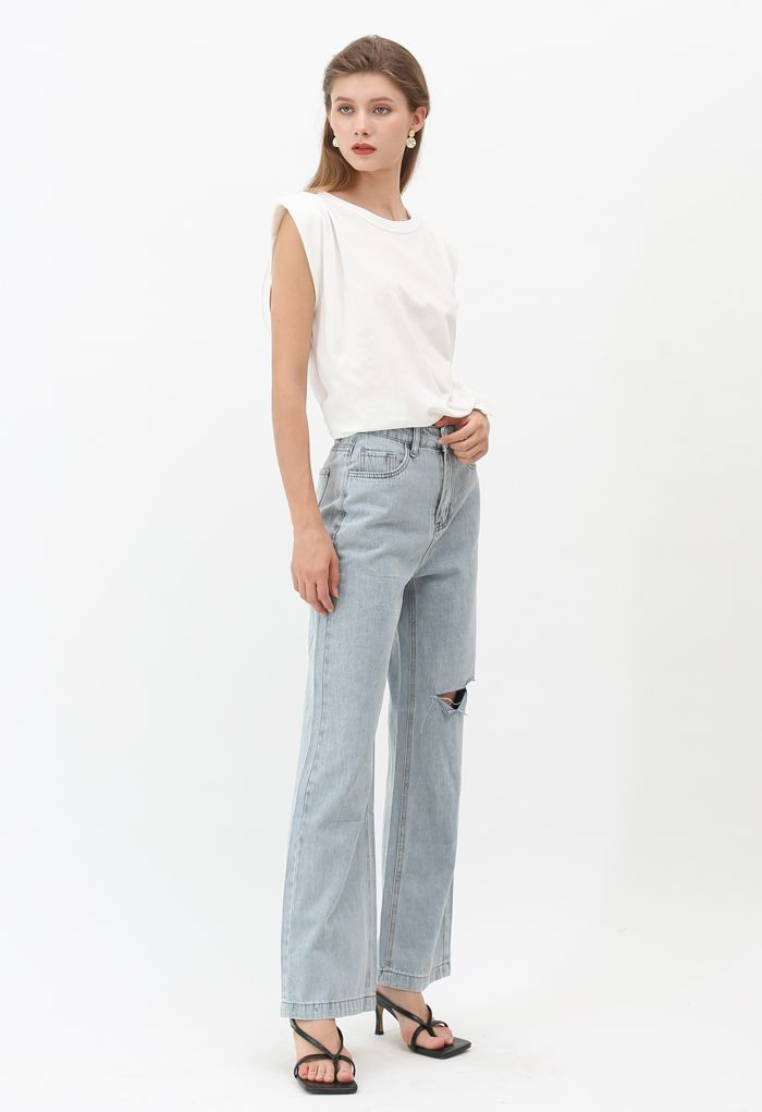 Pockets Wide-Leg Ripped Jeans