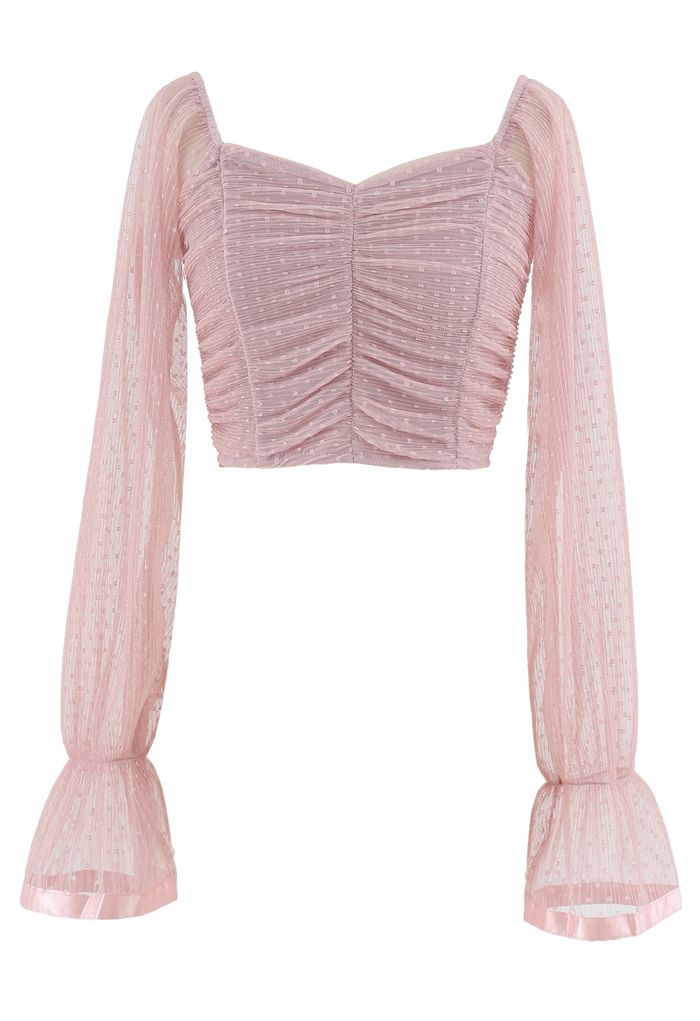 Ruched Dot Mesh Sweetheart Neck Crop Top in Pink