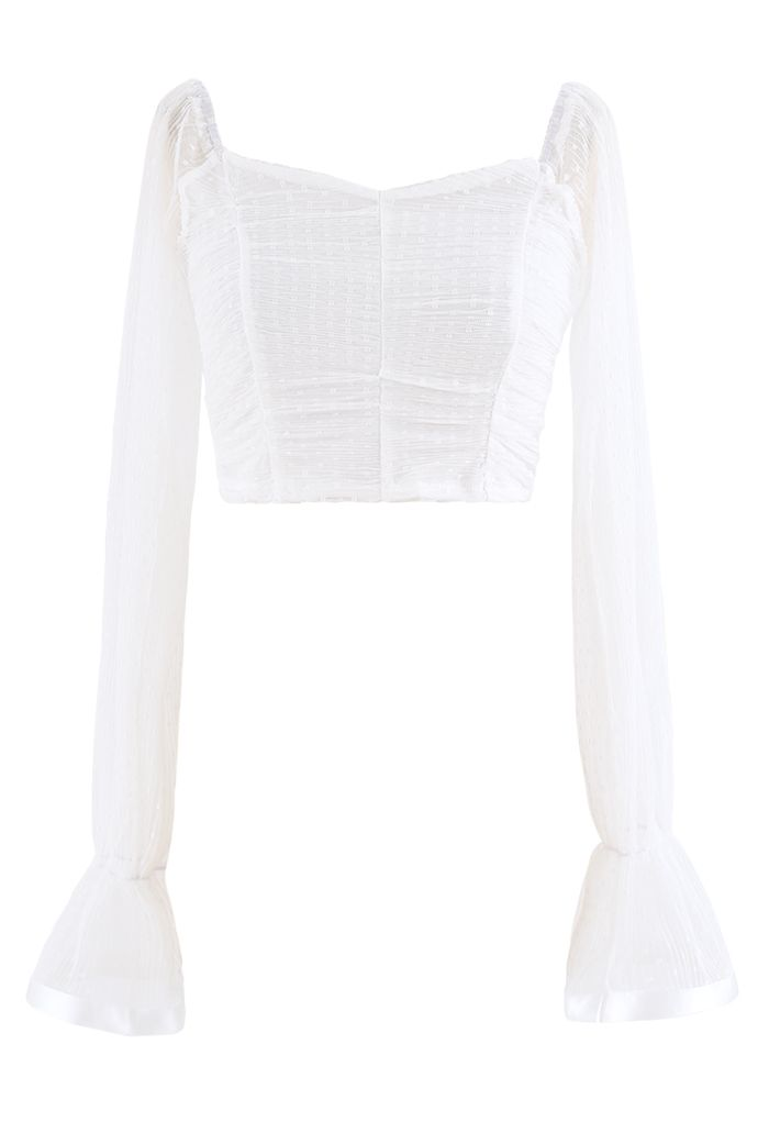 Ruched Dot Mesh Sweetheart Crop Top in White