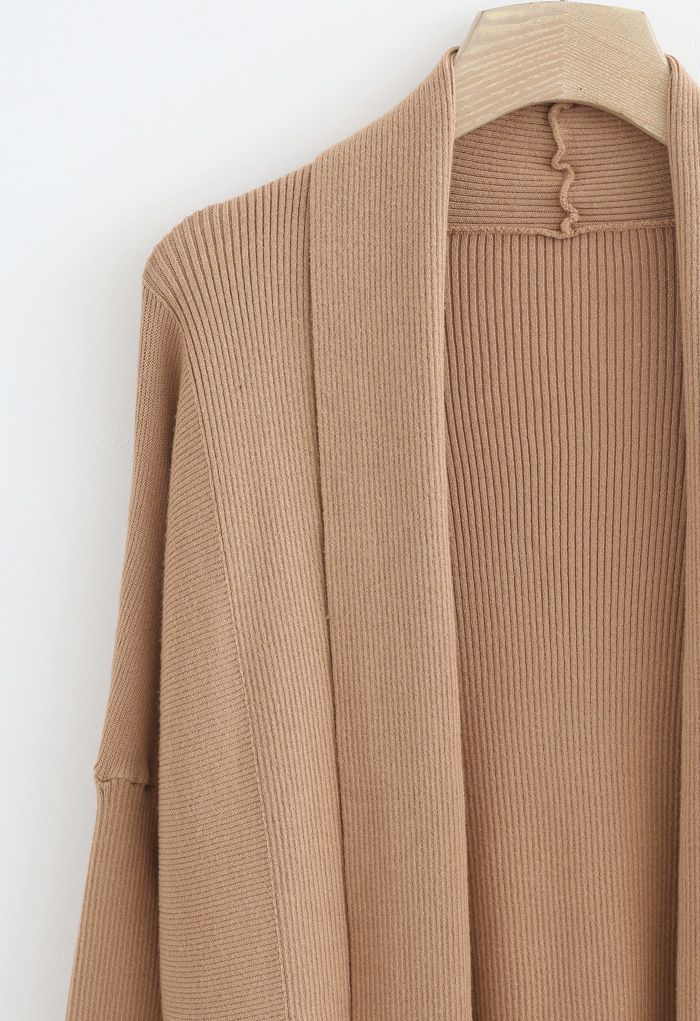 Basic Rib Knit Drape Neck Cardigan in Caramel