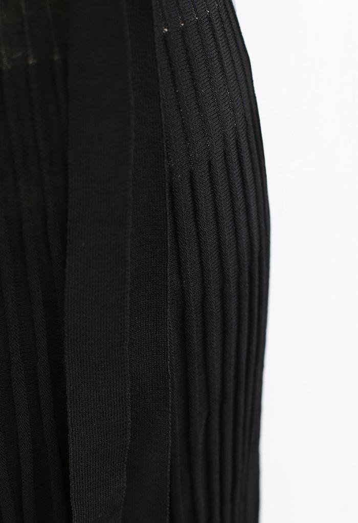 Mock Neck Fringed Hem Ribbed Knit Midi Dress in Black