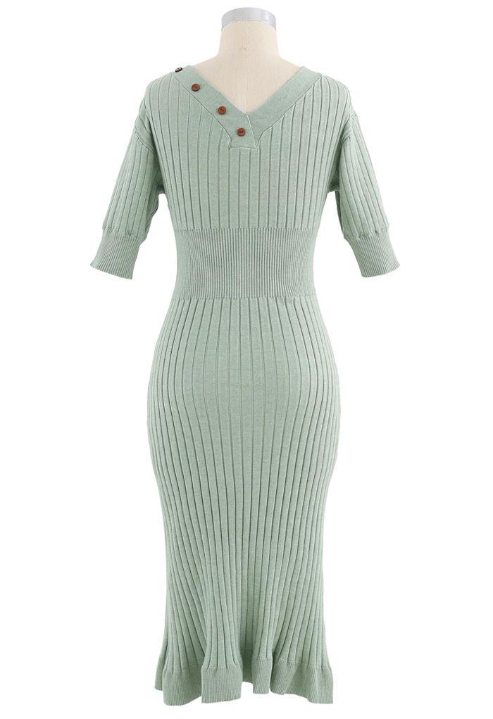 V-Neck Ruffle Button Trim Ribbed Knit Midi Dress in Pea Green