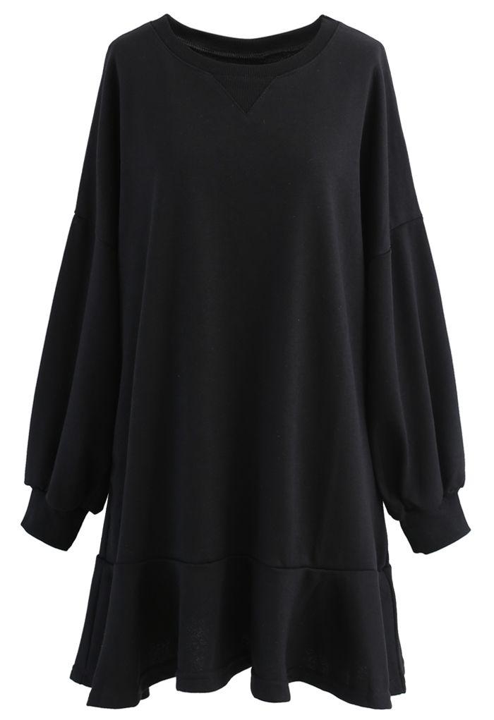 Ruffle Hem Sleeves Shift Mini Dress in Black