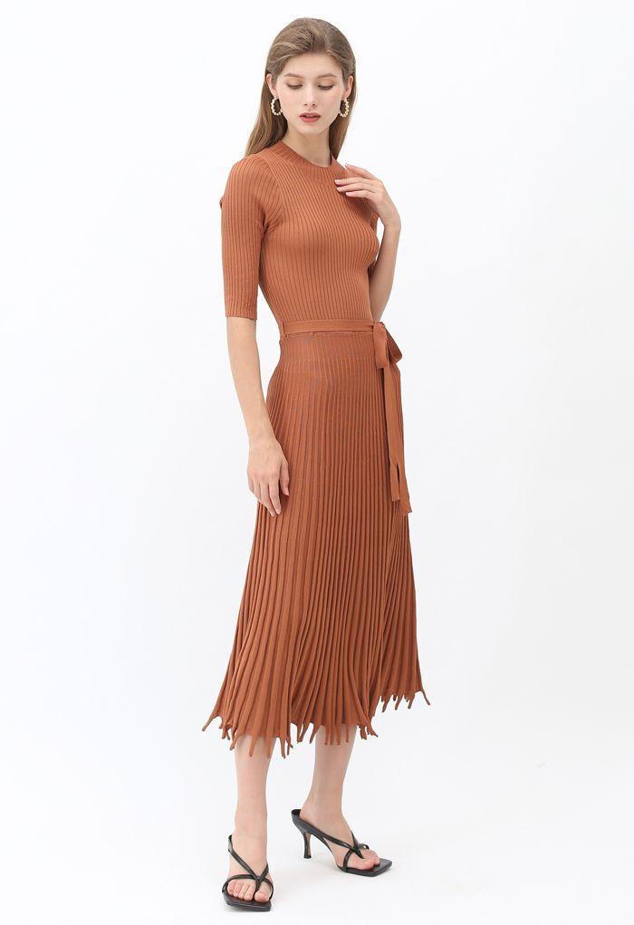 Mock Neck Fringed Hem Ribbed Knit Midi Dress in Caramel