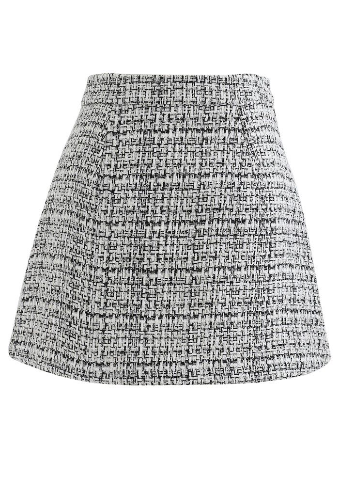 Tweed Asymmetric Mini Skirt in Black