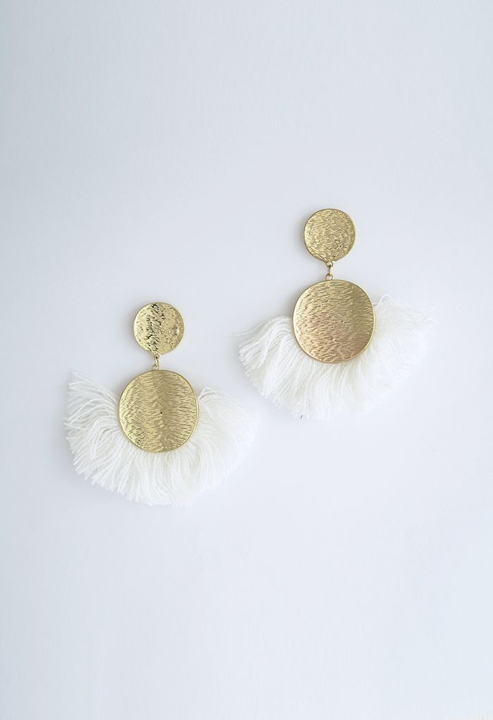 Tassel Gold Round Earrings in White