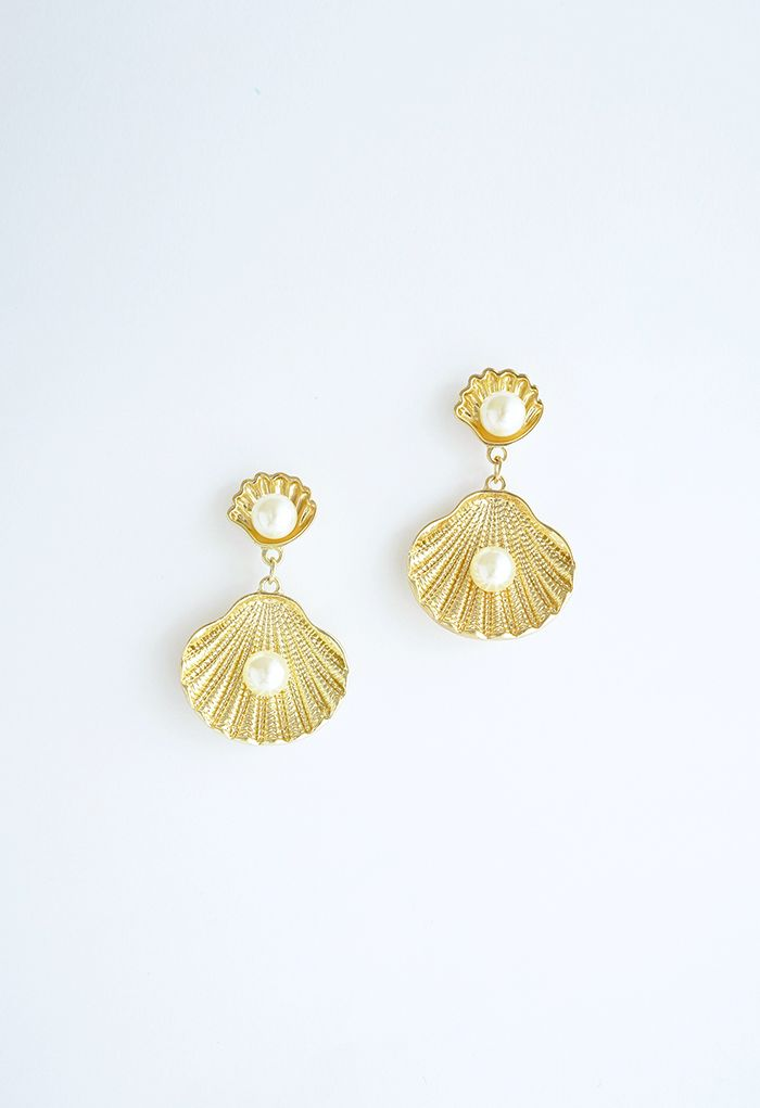 Gold Natural Seashell Pearls Drop Earrings
