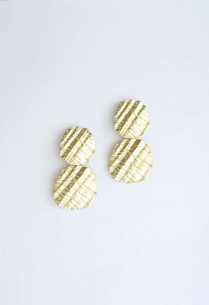 Carved Hammered Gold Earrings