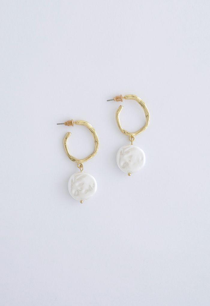 Coin Pearl Gold Hoop Earrings