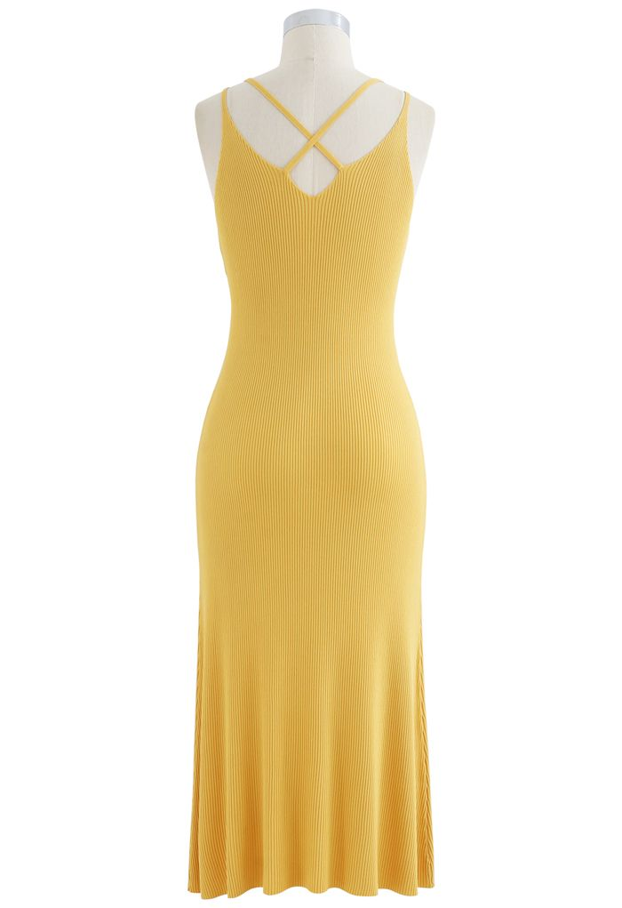 Fitted Ribbed Knit Cami Dress in Yellow