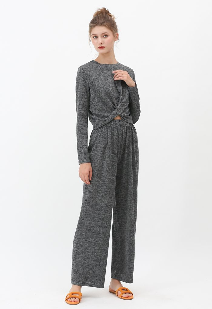 Twist Crop Knit Top and High-Waisted Pants Set in Smoke