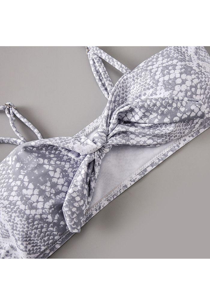 Knotted Snake Print High Leg Bikini Set