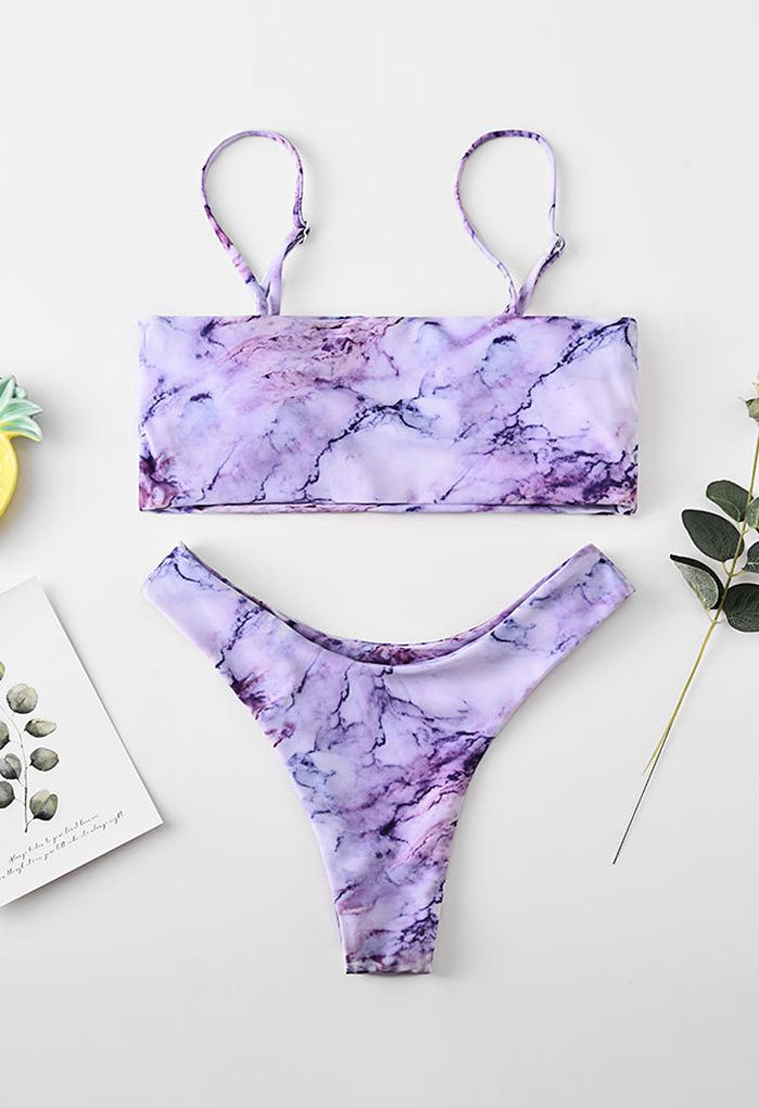Purple Marble Print Low Rise Bikini Set