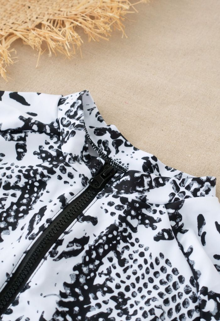 Snake Print Long Sleeves Zipper One-Piece Swimsuit