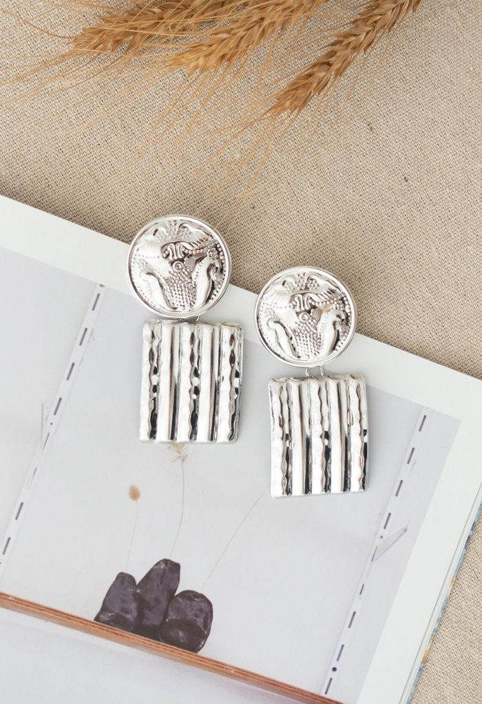 Silver Hammered Coin and Square Earrings