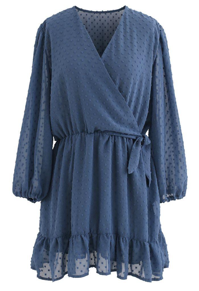 Flock Dots Knot Side Ruffle Wrapped Chiffon Dress