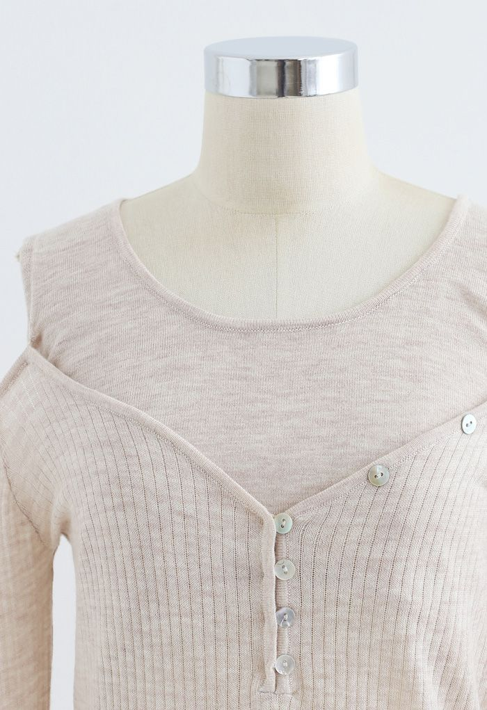 Fake Two-Piece Button Knit Top in Sand