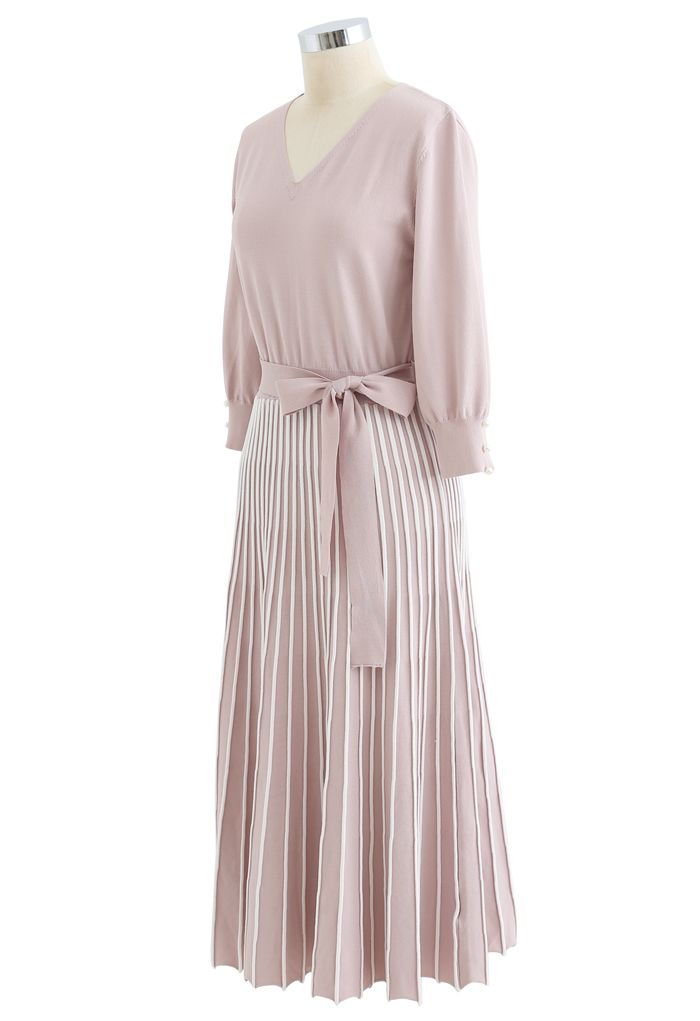 Radiant Lines V-Neck Bowknot Knit Dress in Pink