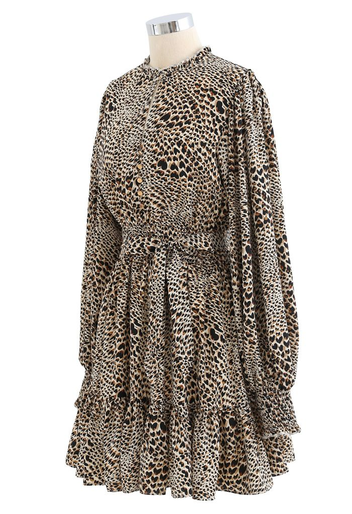 Buttoned Leopard Print Puff Sleeves Ruffle Dress