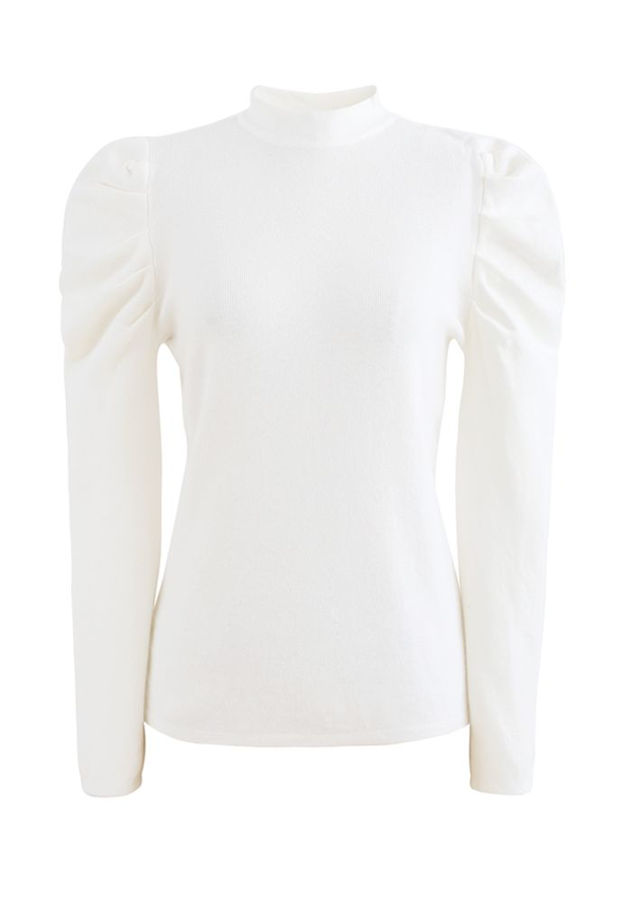 Mock Neck Bubble Sleeves Knit Top in White