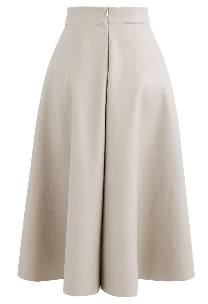 Faux Leather Crocodile Embossed A-Line Midi Skirt in Sand