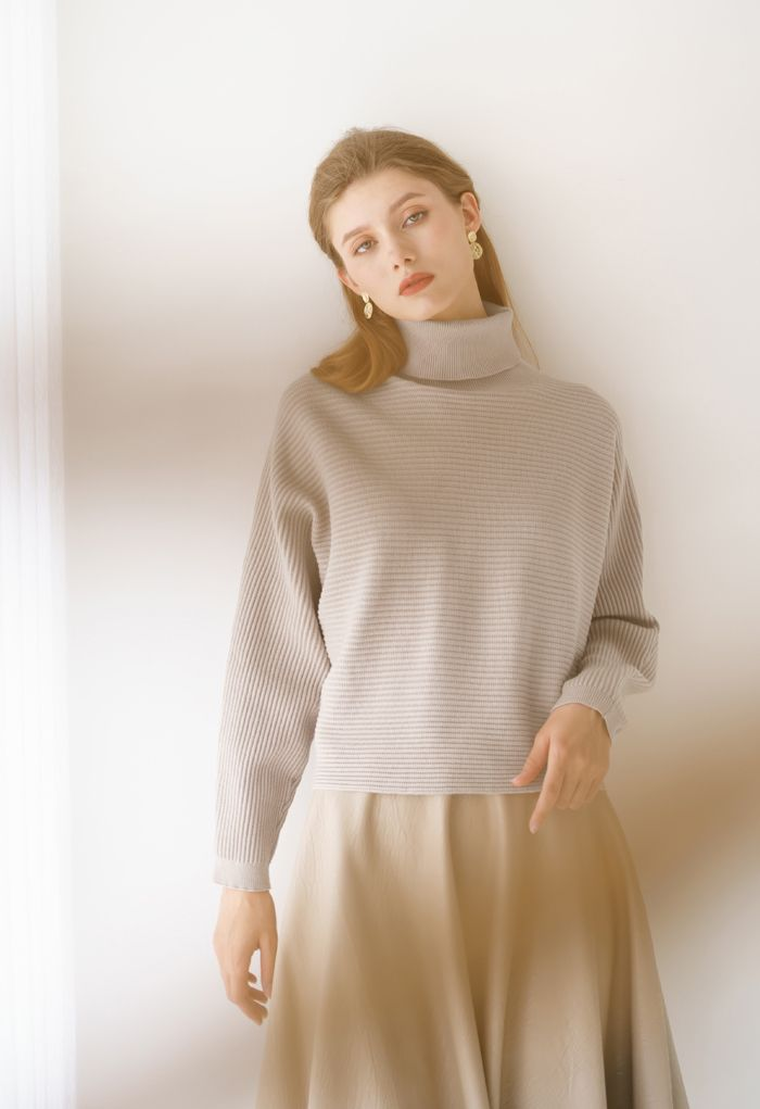 Basic Rib Knit Cowl Neck Crop Sweater in Sand