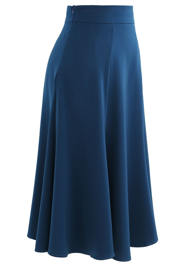 Satin A-Line Midi Skirt in Indigo