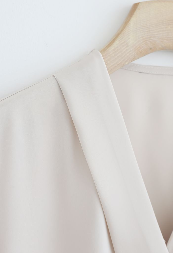 Satin Surplice Neck Sleeves Top in Cream