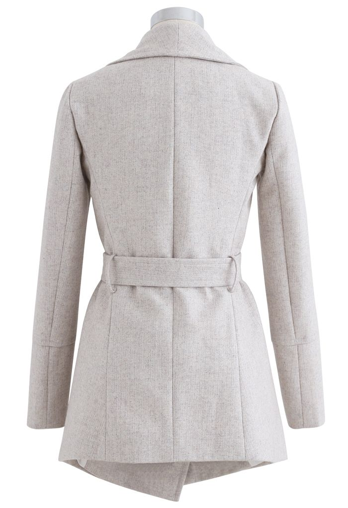 Rabato Wrap Belted Wool-Blend Coat in Ivory