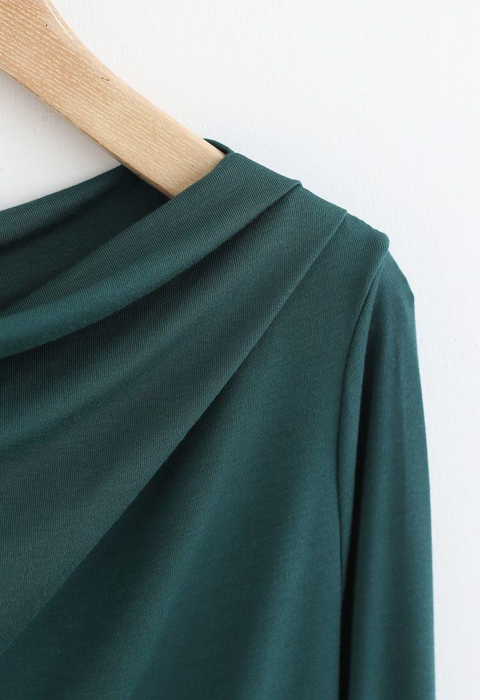 Drape Neck Long Sleeves Top in Green