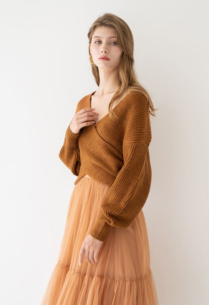 Crisscross Ribbed Knit Crop Sweater in Caramel