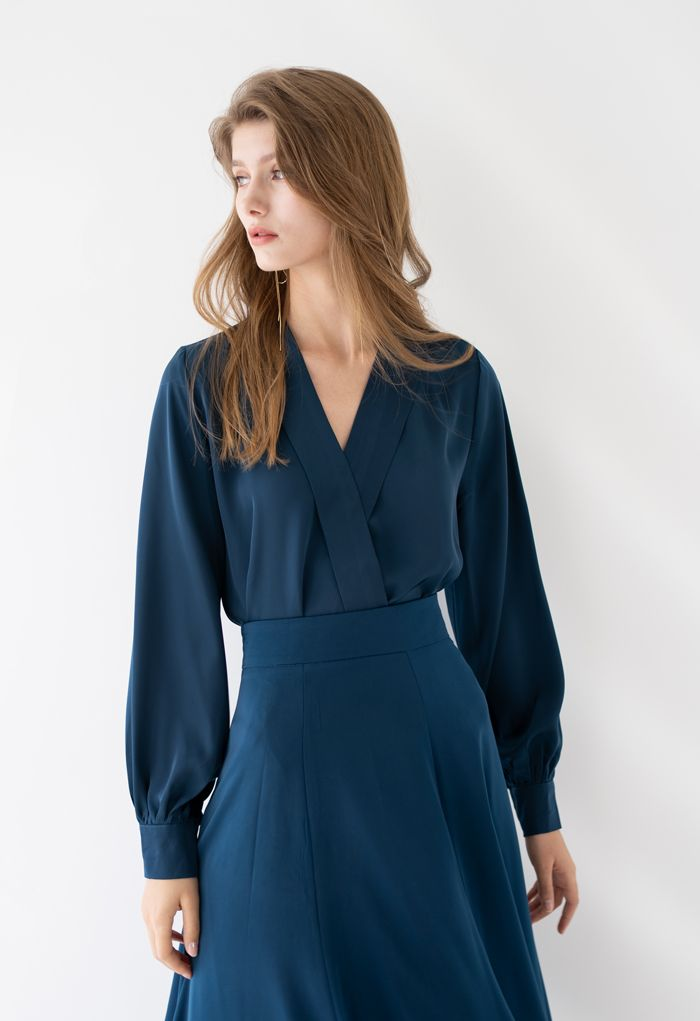 Satin Surplice Neck Sleeves Top in Indigo