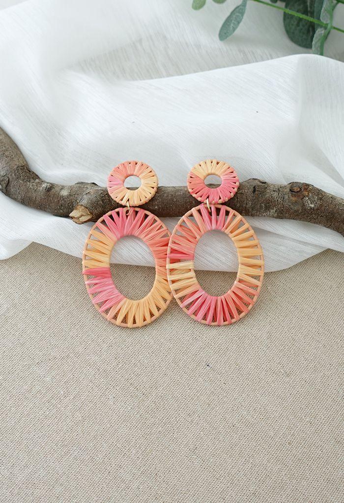 Rattan Oval Circle Drop Earrings