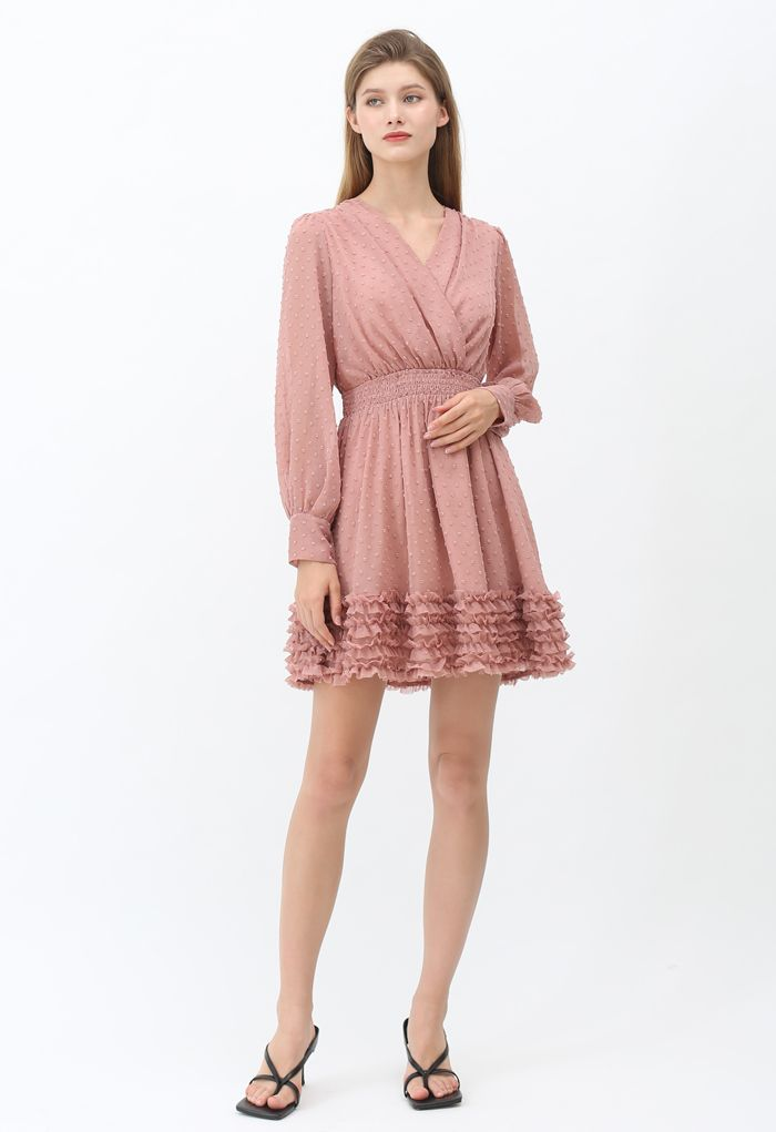 V-Neck Flock Dots Ruffle Chiffon Dress