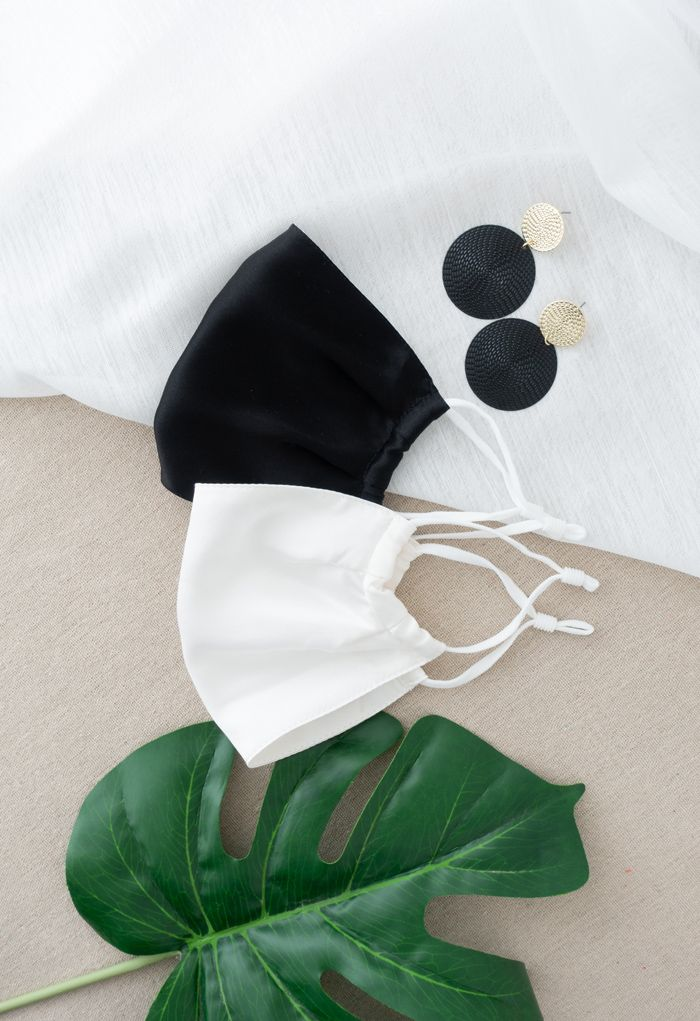 2 Packs Black and White Silk Face Coverings