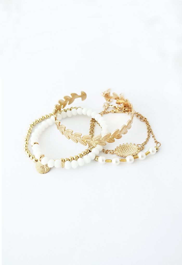 5 Packs Metal Beads Bangle Bracelets