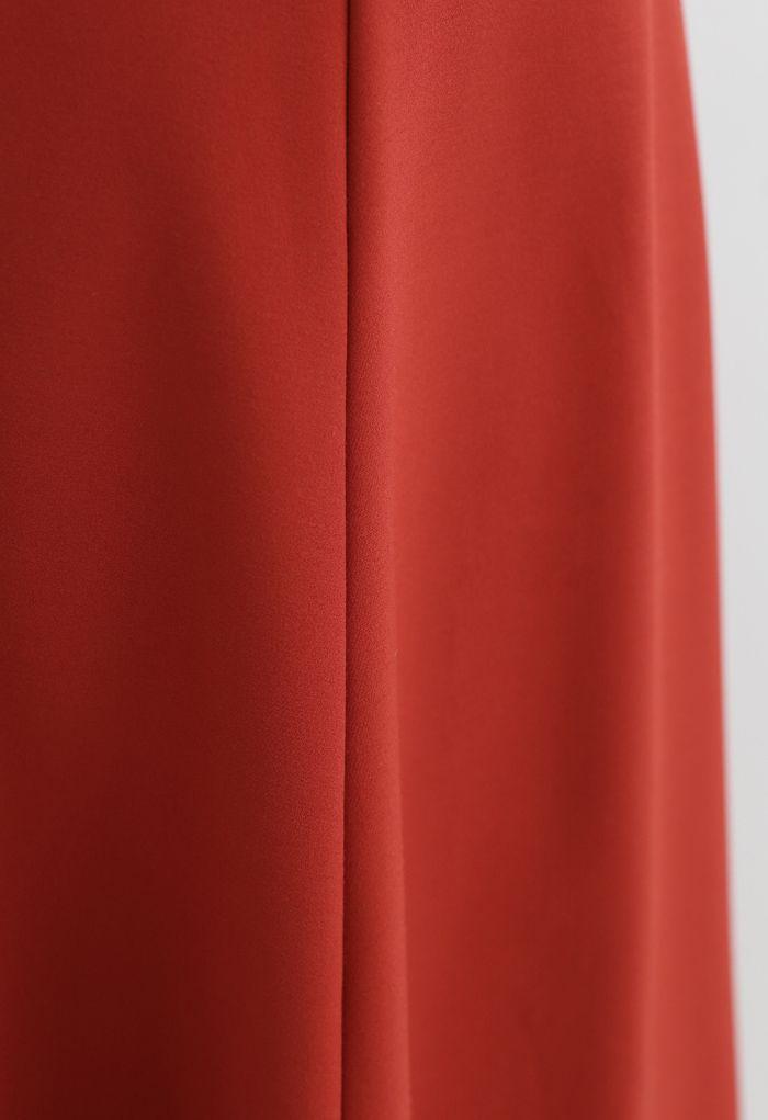Seam Detail Flare Hem Midi Skirt in Red