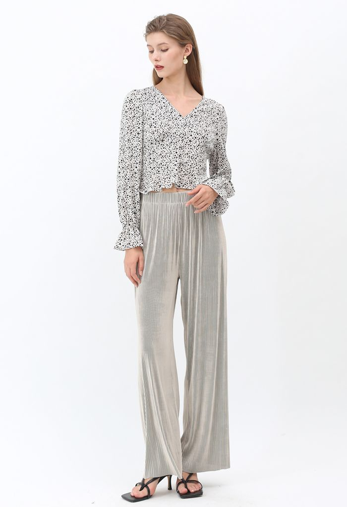 Spotted V-Neck Button Crop Top in Ivory